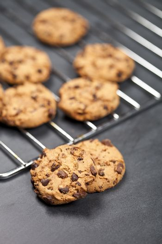 Baking grid with chokolate cookies