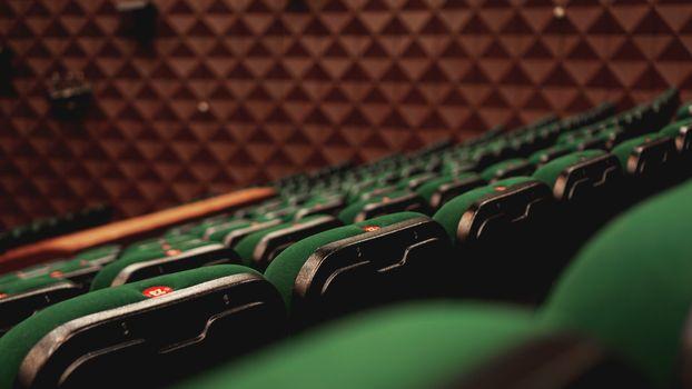 Vintage cinema theater movies audience retro seating seats, green, nobody