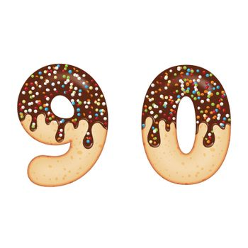 Tempting typography. Font design. 3D donut numbers nine and zero