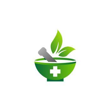 mortar and pestle logo icon, medical pharmacy symbol vector design illustration