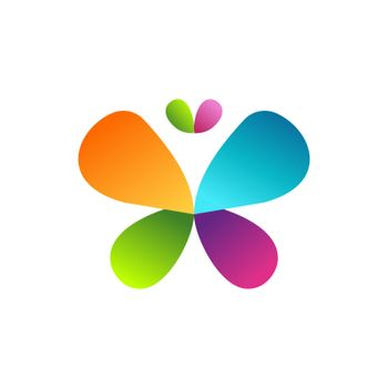 beauty colorful butterfly logo concept symbol icon vector design illustration