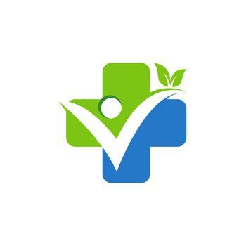 people health plus medical icon logo concept, medicine pharmacy symbol vector design illustration