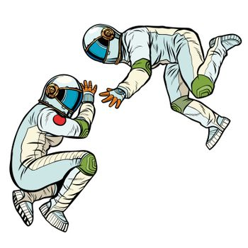 two astronauts in zero gravity