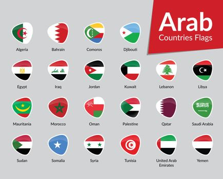 Arab Countries Flags vector icon collection
