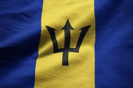Closeup of Ruffled Barbados Flag, Barbados Flag Blowing in Wind