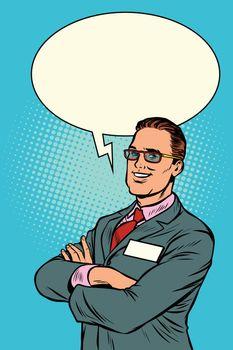 Confident businessman says. Comic bubble
