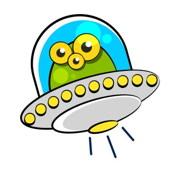 flying saucer with humanoid vector illustration on white background for your design