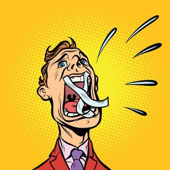 man screaming taped mouth
