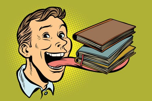 man with books in a long tongue