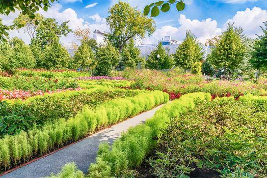Idillic garden inside Gorky Park, Moscow, Russia