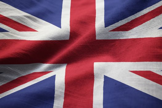 Closeup of Ruffled United Kingdom Flag, United Kingdom Flag Blowing in Wind