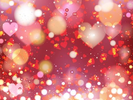 Heart blurred lights on colorfull background, Background with beautiful pink hearts, Hearts texture background