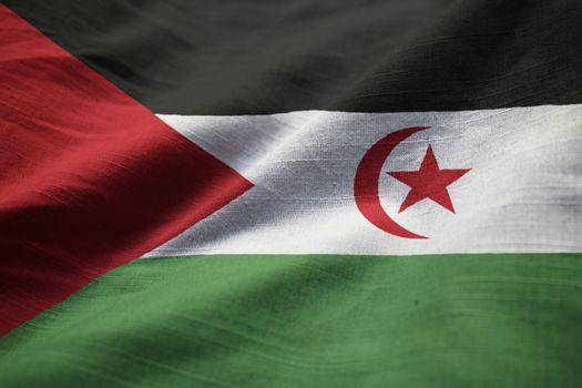 Closeup of Ruffled Western Sahara Flag, Western Sahara Flag Blowing in Wind