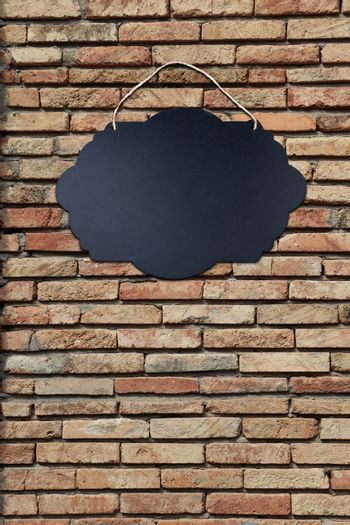 Black Empty Sign Board with string for hanging on wall