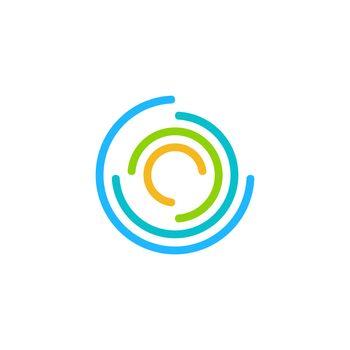 round circles modern logo concept, global twist sphere contour lines logo symbol icon vector design illustration