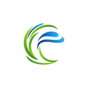letter e plants water drop ecology logo concept, dew water drops and leaf grass logo symbol icon vector design illustration