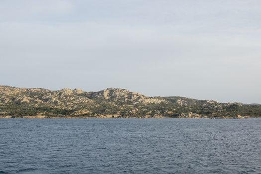 Archipelago landscape between Palau and Isola Maddalena in Costa Smeralda, Sardinia, Italy in March.