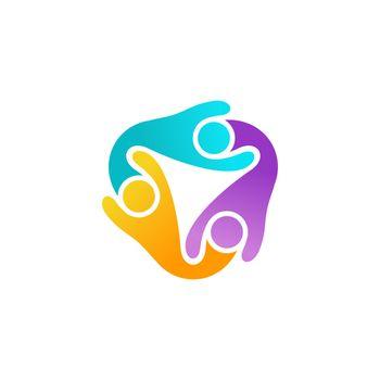 people teamwork logo symbol, global modern children team connection icon vector design illustration
