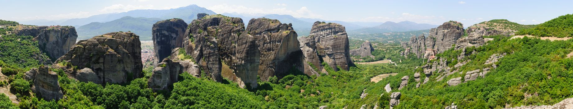 High resolution Panorama of Meteora, Greece, with Orthodox Christian Monasteries and view to Kalabaka city