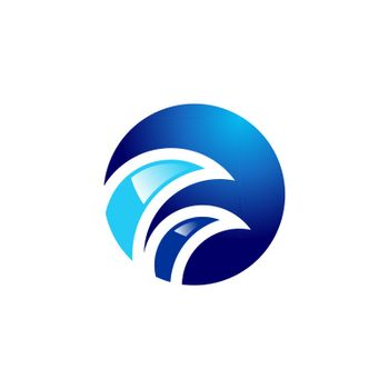 round circle wave logo, abstract elements sphere water wind symbol icon concept, round blue curl waves vector design illustration