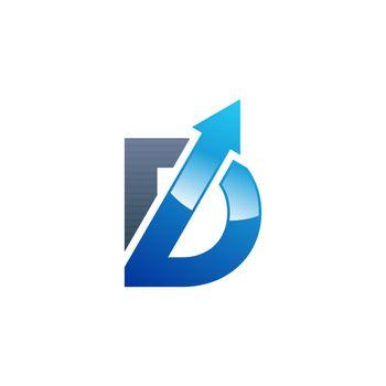 arrow blue letter D logo symbol icon, shape letter b  element arrow logo vector design illustration