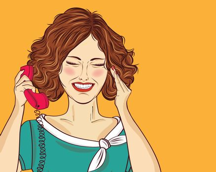 Amused pop art woman chatting on retro phone. Comic woman . Pin up girl. Vector illustration