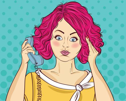 Angry pop art woman chatting on retro phone. Comic woman . Pin up girl. Vector illustration