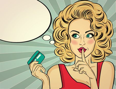 Beautiful blonde woman in pop art style with credit card showing hand silence sign. Vector illustration