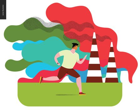 Young man running in smog