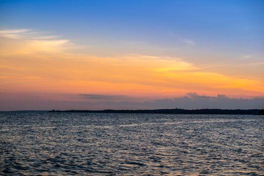 A dramatic vibrant sunset scenery in Cape Cod Martha's Vineyard, Massachusetts