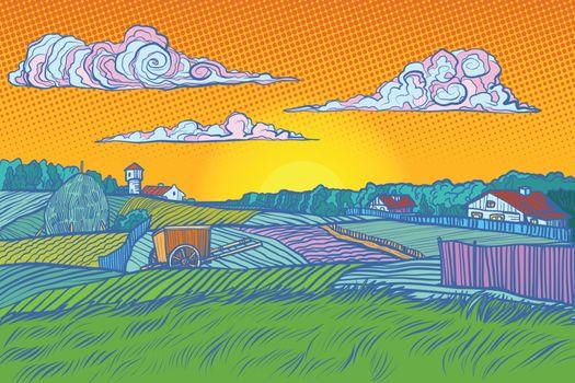 rural landscape evening sunset