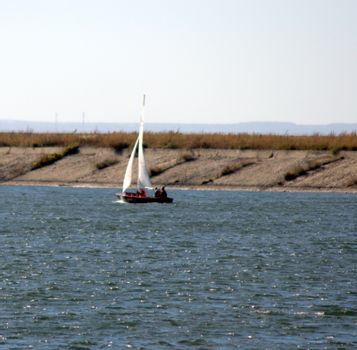 A small sailing yacht with raised sails filled with wind. A picture with an approach.