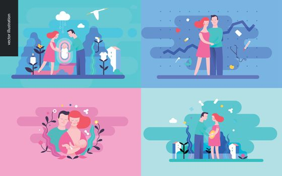 Reproduction - set of vector illustrtaions