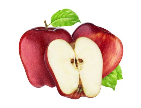Red apple isolated on white background with clipping path