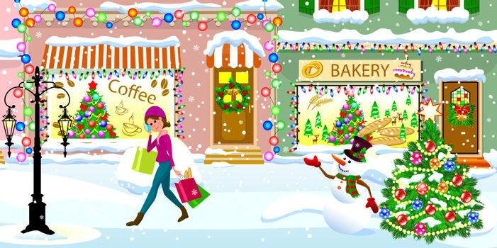 A young woman walks with shopping bags over a snow-covered street on Christmas Eve. A woman is walking along a snowy city street.  City street, decorated for Christmas, a woman steps on the snow in the background of shops, a Christmas tree and a snowman.