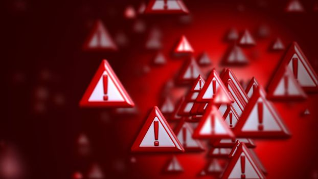 Group of signs with exclamation marks on a red backdrop, as a concept and warning sign of the wrong choice from the internet community in cyberspace. Abstract futuristic horizontal background.