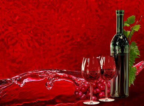 Bottle of red wine, wineglass, grapes and its green leaves with dynamics wine splash on red background as the concept of coolness, freshness and attractiveness of wine products
