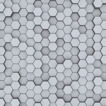 Abstract minimalistic modern technological background with gray hexagon cells of honeycombs.