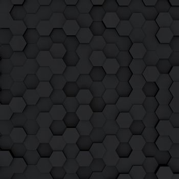 Abstract minimalistic modern technological background with dark gray hexagon cells of honeycombs.