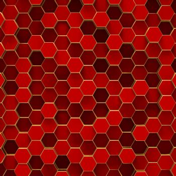 Abstract minimalistic modern technological background with red hexagon cells and gold frames of honeycombs.