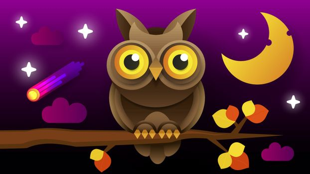 Owl Vector Isolated Icon. Wild Forest Feathered Nocturnal Predatory Bird Of Prey Sitting On Branch.