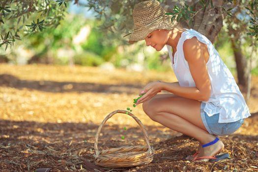 Farming girl picking up berries