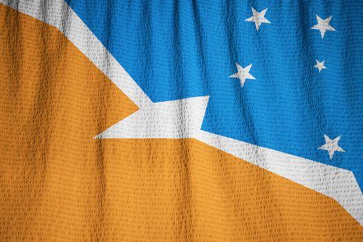 Closeup of Ruffled Terra Del Fuego Flag, Terra Del Fuego Flag Blowing in Wind