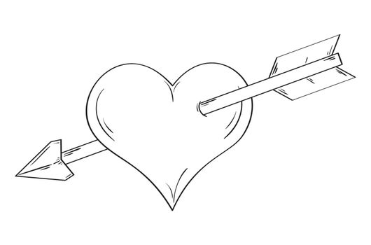 Simple linear heart pierced by an arrow isolated on white background. Sketch.