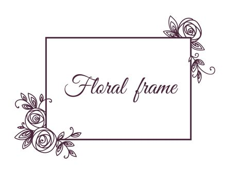 Vintage cute floral frame. Hand drawn illustration for for wedding, greeting, birthday decoration design