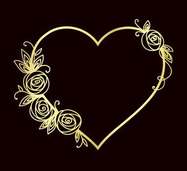 Heart shape line. Valentines day, wedding, birthday design. Isolated outline art
