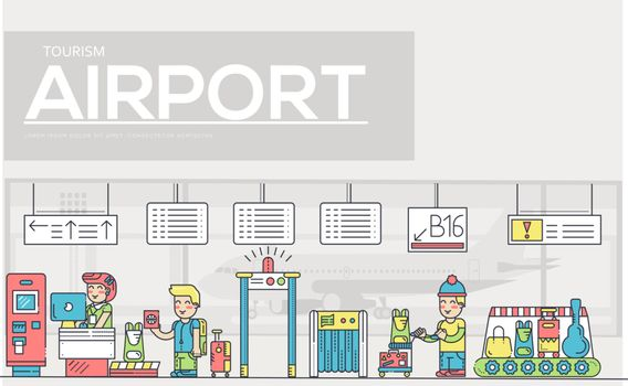 Thin line staff working and registering people and luggage in the airport design.  Registration outline vector illustration concept