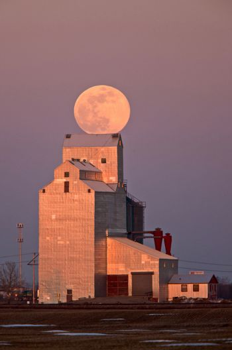 Grain Elevator Full Moon