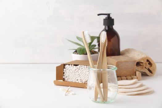 Zero waste concept. Eco-friendly bathroom accessories, copyspace