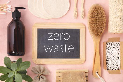 Zero waste concept. Eco-friendly bathroom accessories